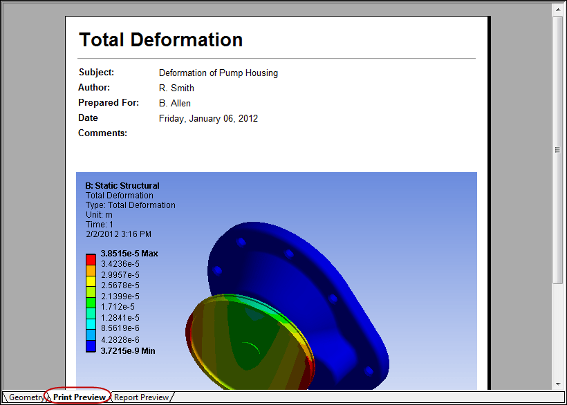 5ec46 01 ansys print preview tab analysis finite element ANSYS ANSYS Mechanical Workbench